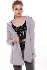 Azone Stylish Women Casual Long Sleeve Hoodie Long Trench Belt Coat (Grey)
