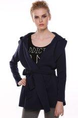 Azone Stylish Women Casual Long Sleeve Hoodie Long Trench Belt Coat (Navy Blue)