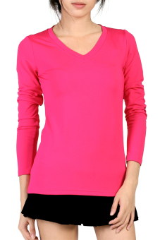 Azone V Neck Fitted Plain T Shirt (Pink)
