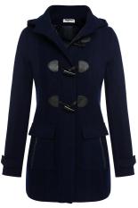 AZONE Women Casual Hooded Collar Long Sleeve Coat (Navy Blue) (Intl)