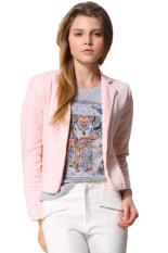 Azone Women OL Coat Lapel One Button Long Sleeve Short Suit Blazer Jackets Coats(Pink)