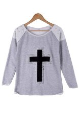 Azone Women's Casual T-shirts Long Sleeve Pullovers Jumpers T-shirt Tops Blouse (Grey) - Intl