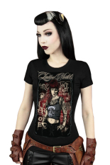 Azone Women's Colored Painting Printing Short Sleeve Stretch Slim Fit Tops T-shirt 15 Colors (Brown)