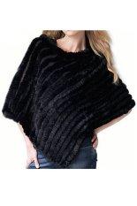 Azone Women's Soft Knitted Genuine Fur Poncho Jacket Coats (Black) - Intl