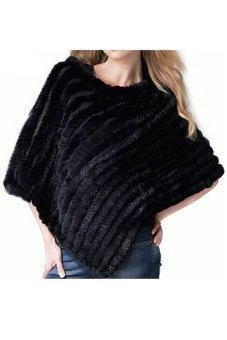 Azone Women's Soft Knitted Genuine Fur Poncho Jacket Coats (Black)