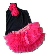 Babymix - Setelan Bayi Anak Kaos Celana Tutu Hitam - Pink