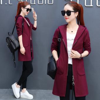 Korea Fashion Style Ditambah Beludru Tebal Lengan Panjang Denim Source · Bagian panjang warna solid dari pinggang jas cardigan Merah anggur