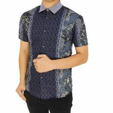 Baju Kemeja Distro Terbaru Pria Motif Batik-Grey