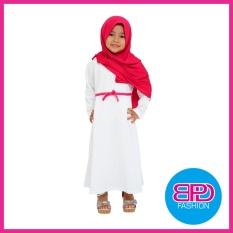 Baju Muslim Gamis Dress Anak Perempuan Cewek Putih Bahan Premium + PASTAN PINK