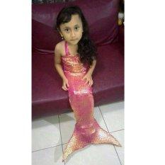 Baju Original Baju Renang Baju Putri Duyung Kostum Mermaid Pakaian Anak Ekor Ikan Pink