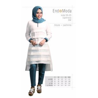 Baju Original Endo Moda Blouse Atasan SN-05 Kaos Wanita Baju Muslim Tunik Kemeja Kaos Broken White