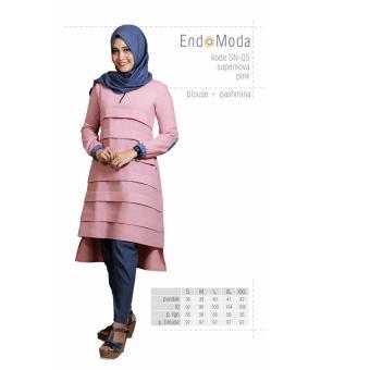Baju Original Endo Moda Blouse Atasan SN-05 Kaos Wanita Baju Muslim Tunik Kemeja Kaos Pink