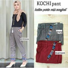 Baju Original Kochi Pants Katun Paris Songket Celana Wanita Muslimah Joger Cewek Panjang Casual Maroon
