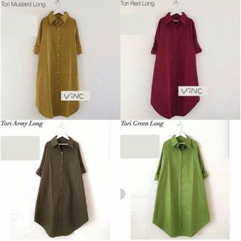 Baju Original Tori Long Tunik Katun Baju Atasan Panjang Wanita Muslimah Pakaian Hijab Modern Casual Simple Trendy Warna Army