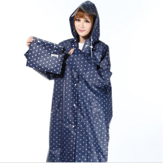 Bang Eva Resin Non-Toxic Lightweight Transparent Rain Jacket Ponchoraincoat (Blue With White Dots)