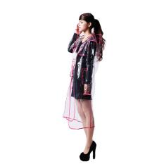 Bang Women Eva Hooded Transparent Rain Coat (Long-Pink)