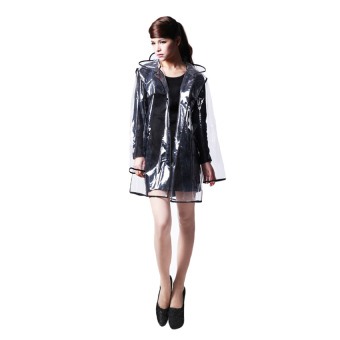 Bang Women Eva Hooded Transparent Rain Coat (Short-Black)