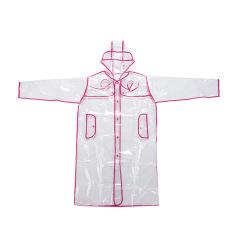 Bang Women Eva Hooded Transparent Rain Coat (Short-Pink)