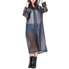 Bang Womens Girls Fashion Waterproof Packable Slim Eva Long Rain Coatjacket Poncho Raincoat Rainwear Outdoor With Hood Grey