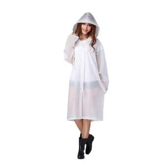 Bang Womens Girls Fashion Waterproof Packable Slim Eva Long Rain Coatjacket Poncho Raincoat Rainwear Outdoor With Hood Translucent White