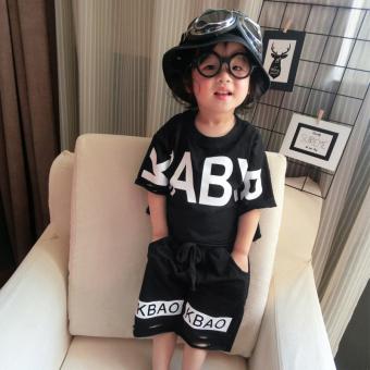 Korea Fashion Style Anak Laki-laki Dan Perempuan Anak-anak Musim Panas Setelan Jas (Hitam) (Hitam)