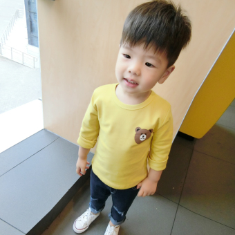 Baobao Korean-style cotton New style Spring and Autumn T-shirt (Kuning)