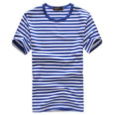Baru leher bulat lengan pendek t-shirt kemeja bergaris-garis laut (Biru)