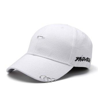 Baru Pria Wanita Hat Ring Hip Hop Melengkung Strapback Baseball Snapback CAP Adjustable Putih-Intl