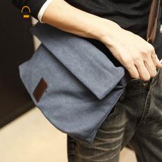 Baru tas kanvas pria single maupun bahu bag tas Korea tas crossbody bag tas ransel keren mahasiswa pria - kopi ritsleting