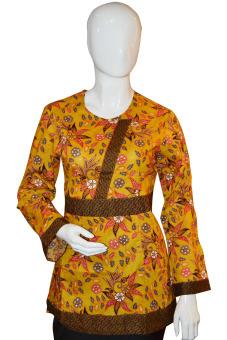 Batik Arjunaweda Blus Batik Wanita - Kembang Remekan - Kuning