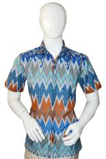 Batik Arjunaweda Kemeja Bodyfit Pria - Bunga Rambat - Biru