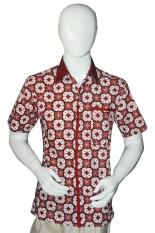 Batik Arjunaweda Kemeja Bodyfit Pria - Sinar Kawung - Merah