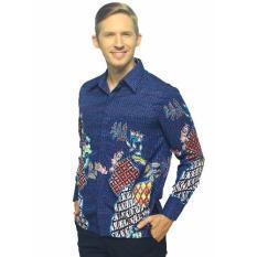 Batik Arjunaweda Kemeja Kerja Batik Pria - Dobby Parang Kembang - Biru