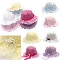 Bayi Perempuan Anak Topi Bunga Renda Simpul Pinggir Pantai Musim Panas Matahari Topi Jerami Putih