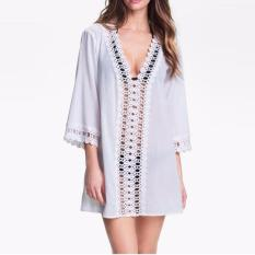 Beach Swimsuit Cover Up Summer Autumn Dress Swimwear Women Kaftan Beach Towel Plus Size Bikini Sheer Swim Suit Dress - intl