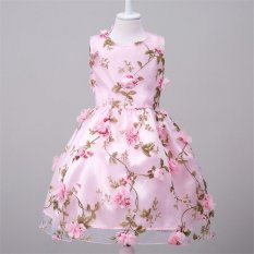 Beautymaker Wedding Flower Girl Dress Princess Bridesmaid Pageant Floral Formal Party Gown Dress Pink - Int'l - intl
