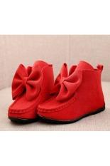 Bedah Anak-anak cewek bot for her and with busur kulit bayi balita (merah)