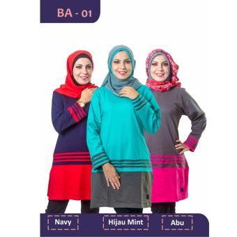 Believe Blouse Atasan BA-01 Kaos Wanita Baju Muslim Tunik Kemeja Kaos Hijau Mint