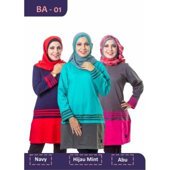 Believe Blouse Atasan BA-01 Kaos Wanita Baju Muslim Tunik Kemeja Kaos Navy