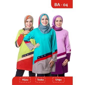 Believe Blouse Atasan BA-04 Kaos Wanita Baju Muslim Tunik Kemeja Kaos Toska