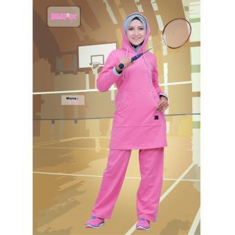 Believe Setelan BMS-01 Baju Olahraga Muslim Kaos Wanita Baju Muslim Kaos  Pink 4488b0d65f