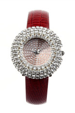 Berbintang Mewah Kulit Tatahan Berlian Imitasi Kuarsa Merah Womens Perhiasan