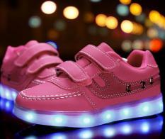 Berwarna merah muda kecil bercahaya laki-laki dan perempuan renda lampu LED bercahaya sepatu olahraga sepatu - International