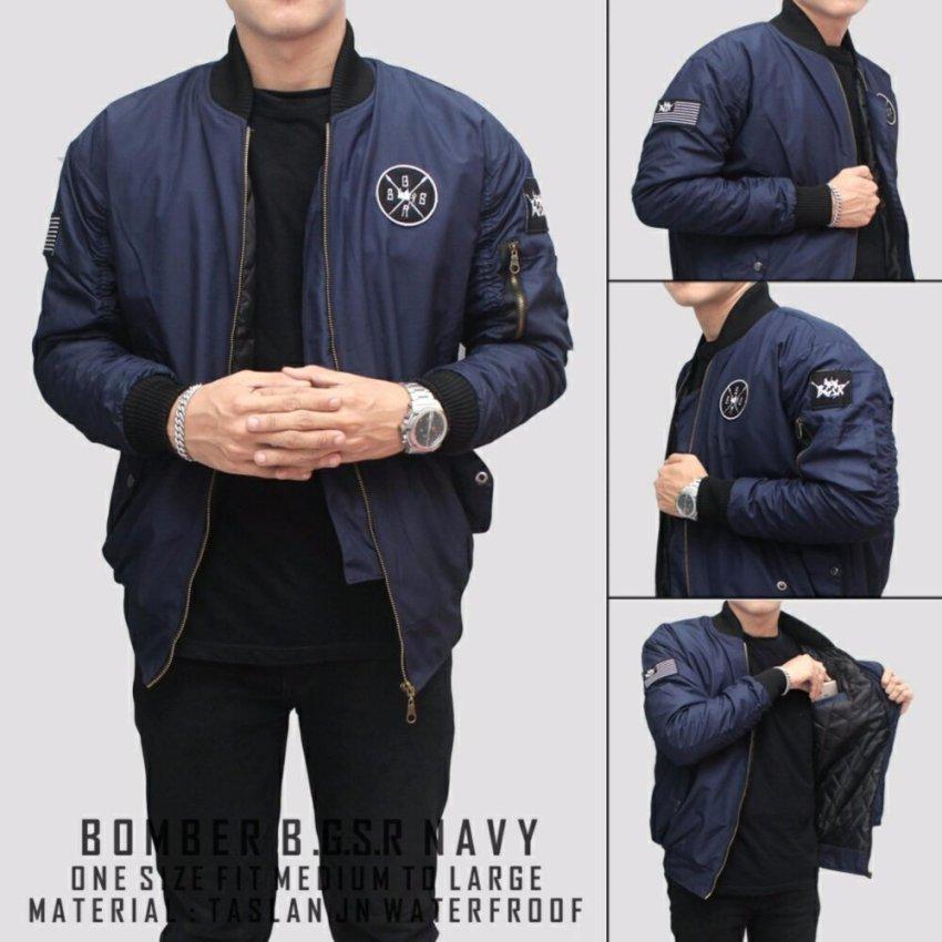 BGSR Jaket Pria Bomber scotch pilot logo bordir pria blue navy - (Biru tua )
