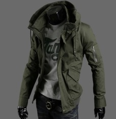 BIG SIZE Men's New Fashion Slim Long-Sleeved Casual Waterwashing Jacket Pure Color (ARMY GREEN) - Intl
