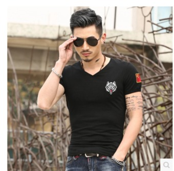 BIG SIZE Men's New Fashion Slim Short-Sleeved Shirt With CHINA FLAG Pure Color (Wolf Black) - Intl