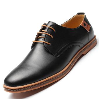 Bisnis Sepatu Kulit Pria Gaun Kasual Eropa Datar Berjabat Renda Up Ukuran Lebih