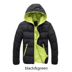 Black Green Men Down Jacket Splice 2017 NEW Arrived Autumn Winter Down Jacket Hooded Winter Jacket For Men Fashion Mens Joint Outerwear Coat Plus Size - Intl