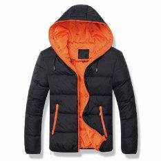 Black Orange Men Down Jacket Splice 2017 NEW Arrived Autumn Winter Down Jacket Hooded Winter Jacket For Men Fashion Mens Joint Outerwear Coat Plus Size - Intl