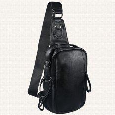 Black PU Leather Casual Men's Chest Pack Pockets Men Luxury Fashion Single Shoulder Bag